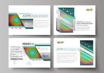 Set of business templates for presentation slides. Abstract vector layouts in flat style. Minimalistic design with circles, diagonal lines. Geometric shapes forming beautiful retro background.