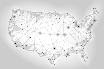 United States of America map low poly style. Connected dots communication mesh wire point line white gray abstract background vector triangle illustration