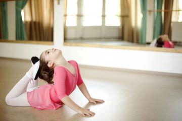 Baby ballerinas in ballet studio