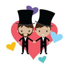 adorable gay spouse groom lovely cartoon marriage