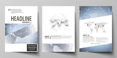 The vector illustration of the editable layout of three A4 format modern covers design templates for brochure, magazine, flyer, booklet. Abstract futuristic network shapes. High tech background.