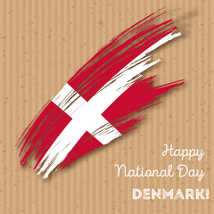 Denmark Independence Day Patriotic Design. Expressive Brush Stroke in National Flag Colors on kraft paper background. Happy Independence Day Denmark Vector Greeting Card.