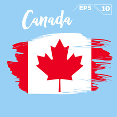 Canada flag brush strokes painted vector illustration