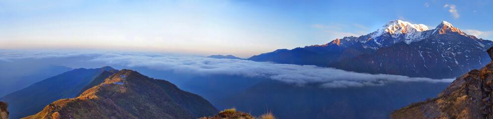 Mountain panorama Landscape in Himalaya. Ridge above clouds.