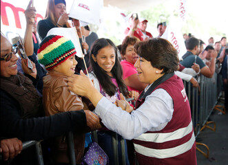 Delfina Gomez of the National Regeneration Movement (MORENA), candidate for the governor of the State of Mexico, greets supporters at her closing campaign rally in Chicoloapan de Juárez, State of Mexico