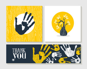 Wall Mural - Thank you hand print card set for community help