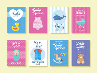 Set of Baby Shower Greeting and Invitation Cards (Vol. 2). Can be used for invitation cards, flyer, poster, banner, print template and much more!