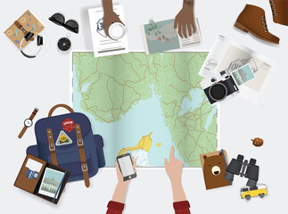Hand Pointing on Map Planning for Trip with Travel Stuff Illustration Vector