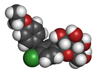 Ertugliflozin diabetes drug molecule. 3D rendering. Atoms are represented as spheres with conventional color coding: hydrogen (white), carbon (grey), nitrogen (blue), oxygen (red), chlorine (green).