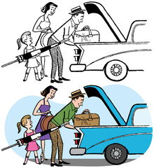 A family packing the trunk of a car for a vacation.