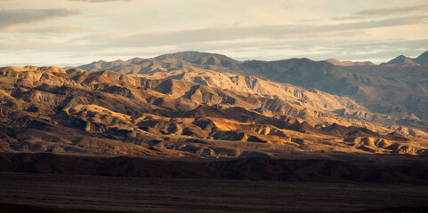Death Valley Badlands Panoramic View Sunset