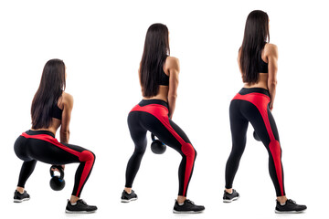 Exercise of deadlift with weight performed by a sports woman in three positions on a white isolated background. Side view