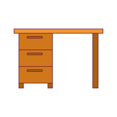 colorful graphic with wooden office desk with drawers dark red line contour vector illustration