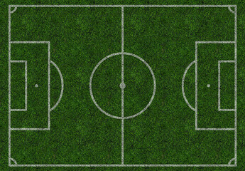 Football field, soccer, pitch, ground, isolated. Top view