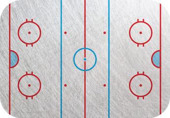Hockey rink. Hockey court, Playground  isolated, ice background. Hockey pitch backdrop