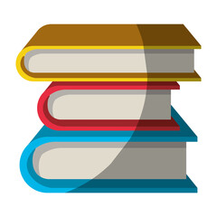 colorful graphic of collection of books without contour and half shadow vector illustration