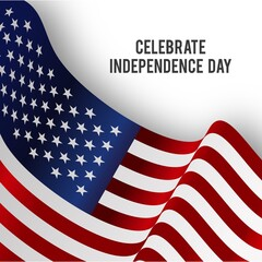 Happy 4th of July - Independence Day Vector Design on White Scribble Background with American Flag - July Fourth