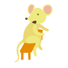 Mouse sitting on a bench