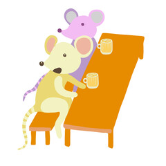Company of mice having fun in pub