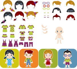 Caucasian child Avatar set