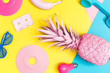 Funky painted objects on a bright background