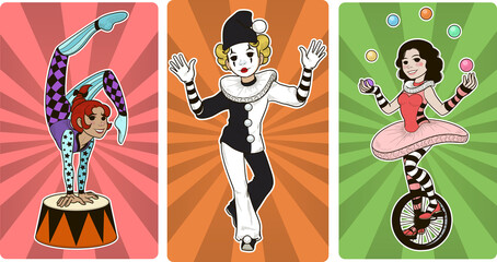 Gymnast mime clown and juggler circus characters