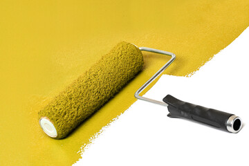 Yellow Paint Roller Over White Surface