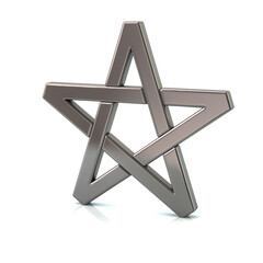 3d illustration of silver pentagram