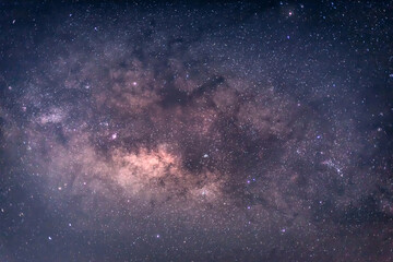 Close-up of Milky way galaxy, Long exposure photograph, with grain.