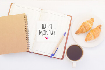 Happy Monday on note pad with coffee cup