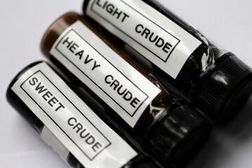 Illustration photo of sample bottles of crude oil