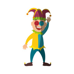 Jester clown cartoon icon vector illustration graphic design