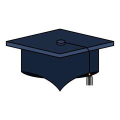 colorful silhouette image graduation cap vector illustration