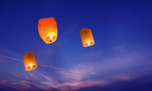 Lanterns in the sky closeup