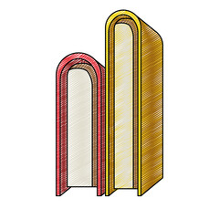 color crayon stripe of stack pair of books vector illustration