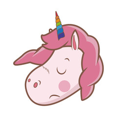 cute unicorn animal fantasy horse horn lovely vector illustration