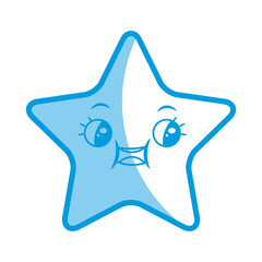 kawaii cute star caricature facial expression design vector illustration