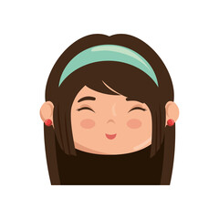 Cute japanese girl face cartoon icon vector illustration graphic design