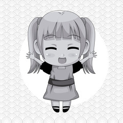 monochrome abstract background with circular frame and cute anime girl expression happiness vector illustration