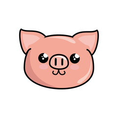 kawaii pig icon over white background. vector illustration