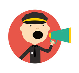 Policeman in uniform with megaphone round avatar icon isolated on white background vector illustration. People pictogram in flat design.