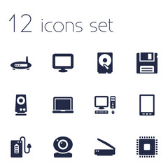 Set Of 12 Notebook Icons Set.Collection Of Supply, Computer, Record And Other Elements.