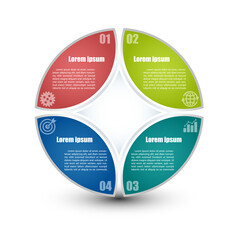 Circle infographic template 4 steps. For presentation and design concept. Bright colors. Vector illustration.
