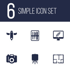 Set Of 6 Creative Icons Set.Collection Of Case, Screen, Photo And Other Elements.