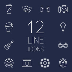 Set Of 12 Entertainment Outline Icons Set.Collection Of 3D Glasses, Guitar, Vr Helmet And Other Elements.