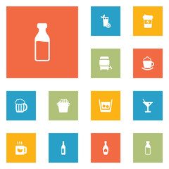 Set Of 12 Drinks Icons Set.Collection Of Cream, Espresso, Drink And Other Elements.