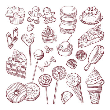 Vector doodle pictures of different desserts sweets and cakes