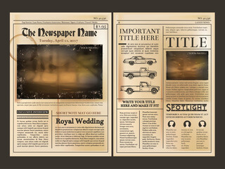 Layout design. Front page of vintage newspaper. Vector illustration with place for your text