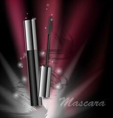 Cosmetics beauty series, ads of premium mascara on a dark background. Template for design posters, placard, logo, presentation, banners, covers, vector .