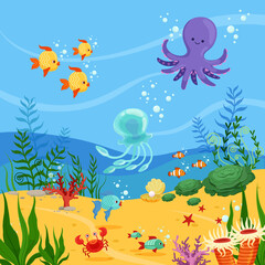 Underwater background illustration with ocean animals, plants and fishes. Vector pictures